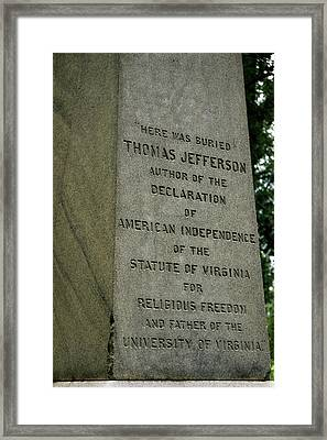 Thomas Jefferson Tombstone Close Up Framed Print