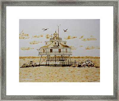 Thomas Point Shoals Station Lighthouse Framed Print by H Leslie Simmons