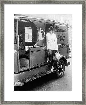Thompson's Dairy Milkwoman Framed Print by Underwood Archives