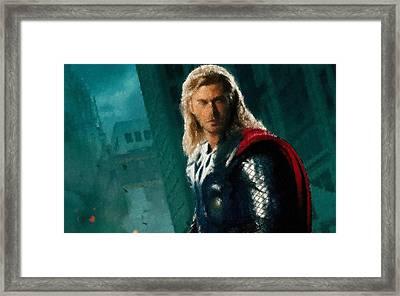 Thor Oil Pastel Sketch Framed Print