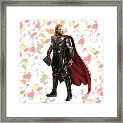 Framed Print featuring the mixed media Thor Splash Super Hero Series by Movie Poster Prints