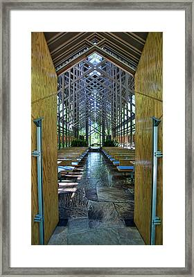 Framed Print featuring the photograph Thorncrown Chapel Entrance by Cricket Hackmann