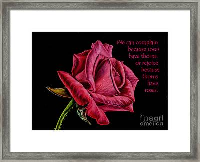 Thorns Have Roses  Framed Print by Sarah Batalka