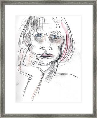 Framed Print featuring the drawing Thoughtful - A Selfie by Carolyn Weltman