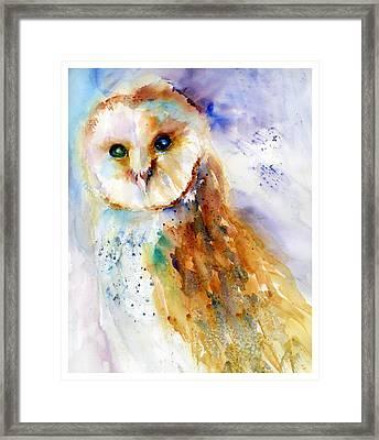 Thoughtful Barn Owl Framed Print by Christy Lemp