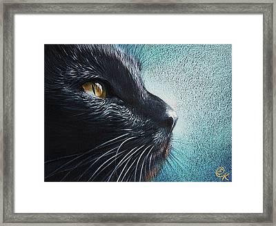 Thoughtful Cat Framed Print by Elena Kolotusha