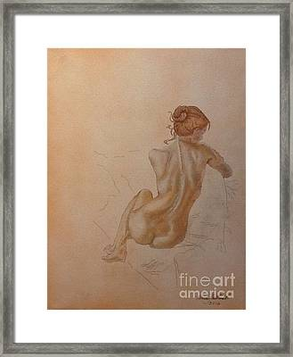 Thoughtful Nude Lady Framed Print