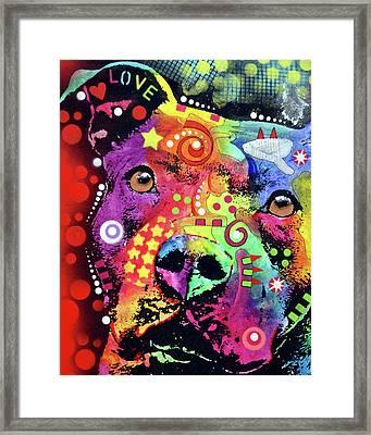 Thoughtful Pitbull Love Framed Print