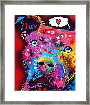 Thoughtful Pitbull Thinks Luv Framed Print by Dean Russo