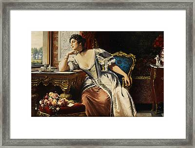 Thoughts When Writing The Letter Framed Print by Gustave Leonard de Jonghe