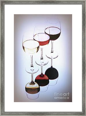 Three Glasses Of Wine Framed Print by George Oze