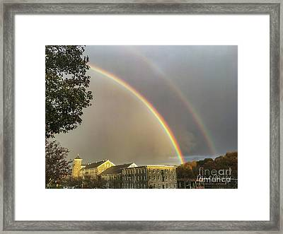 Framed Print featuring the photograph Thread City Double Rainbow  by Michael Hughes
