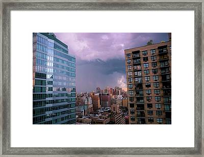 Framed Print featuring the photograph Threatening Storm - Manhattan - 2016 by Madeline Ellis