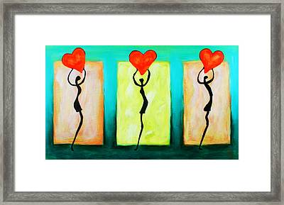 Three Abstract Figures With Hearts Framed Print