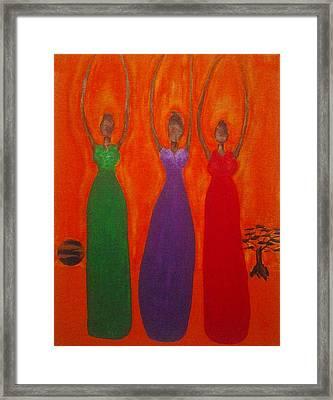 Three African Goddesses 2 Framed Print by Tonya Merrick