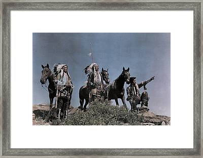 Three American Indians On The Crow Framed Print by Edwin L. Wisherd