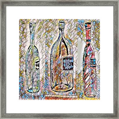 Wine Time Bottles - Stained Glass Framed Print