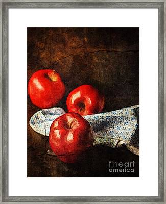 Three Apples Still Life Framed Print by Amy Cicconi