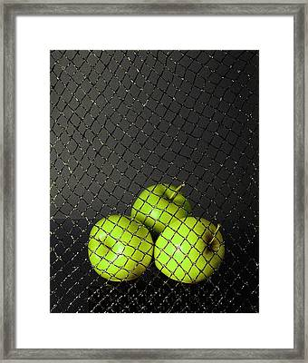 Framed Print featuring the photograph Three Apples by Viktor Savchenko