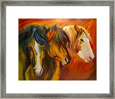 Three At The Fence Line Framed Print
