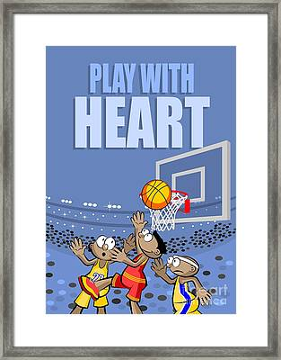 Three Basketball Players Struggle Hard To Catch The Ball Under The Board Framed Print