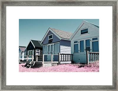 Three Beach Huts Blue Framed Print