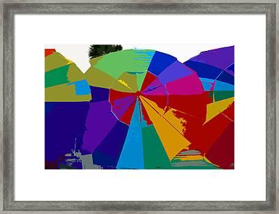 Three Beach Umbrellas Framed Print by David Lee Thompson