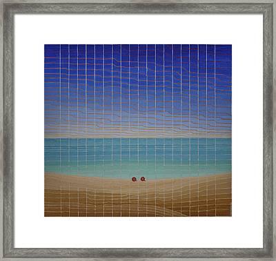 Three Beach Umbrellas Framed Print