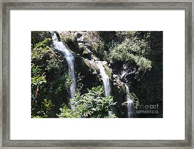 Framed Print featuring the photograph Upper Waikani Falls by Wilko Van de Kamp
