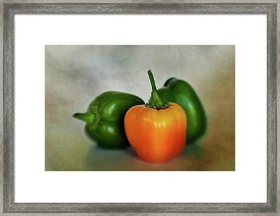 Framed Print featuring the photograph Three Bell Peppers by David and Carol Kelly