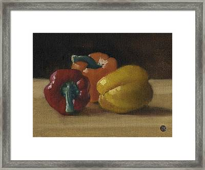 Framed Print featuring the painting Three Bell Peppers by John Reynolds