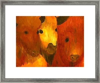 Three Bison Framed Print by Austen Brauker