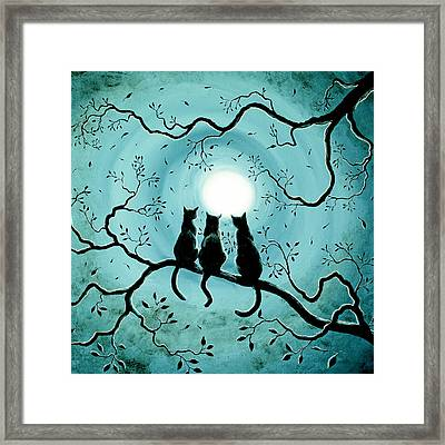Three Black Cats Under A Full Moon Silhouette Framed Print by Laura Iverson