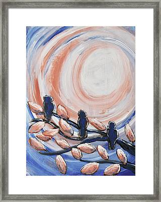 Three Blue Framed Print