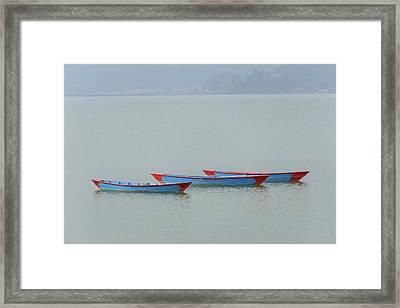 Three Blue Boats On Phewa Lake In Pokhara Framed Print