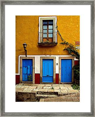 Three Blue Doors 2 Framed Print by Mexicolors Art Photography