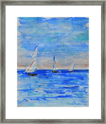 Three Boats Framed Print by Jamie Frier