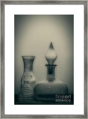 Three Bottles Framed Print by Linda Lees