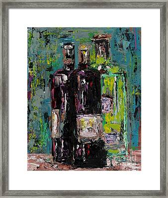 Three Bottles Of Wine Framed Print by Frances Marino