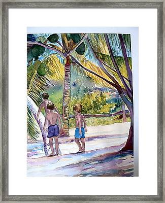 Three Boys Climbing Framed Print