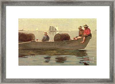 Three Boys In A Dory Framed Print