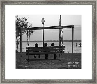 Three Boys On A Swing Framed Print by Kathi Shotwell
