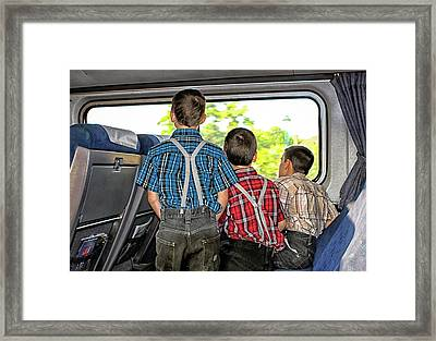Three Boys On A Train Framed Print by Eclectic Art Photos