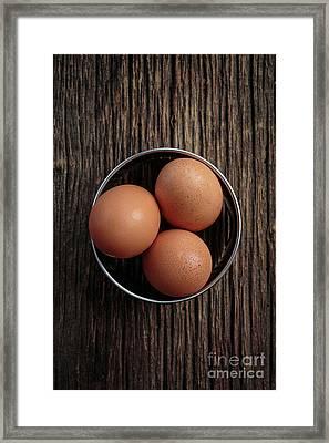 Three Brown Eggs Framed Print