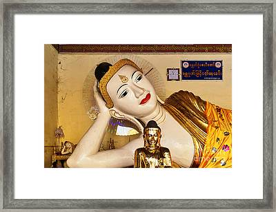 Three Buddhas At Shwedagon Pagoda Framed Print by Dean Harte