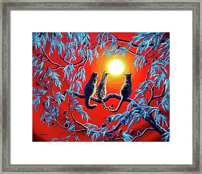 Three Cats In A Bright Red Sunset Framed Print by Laura Iverson
