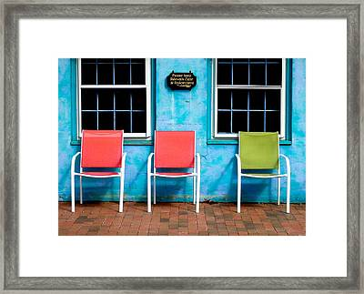 Three Chairs And Two Windows Framed Print by Nancy De Flon