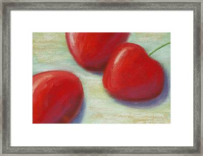 Three Cherries Framed Print by Cheryl Albert