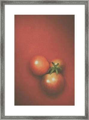 Three Cherry Tomatoes Framed Print by Scott Norris