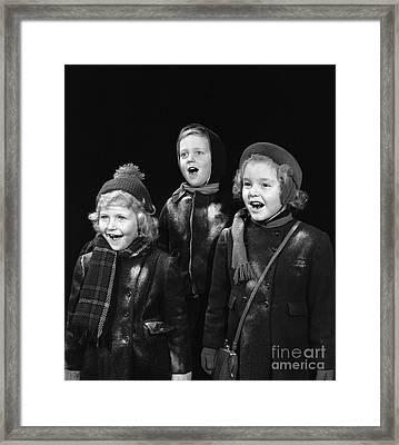 Three Children Caroling, C.1940s Framed Print